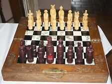 Rare Hand Made Asian Wood Chess Set With Board / Storage