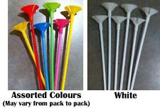 Party Supplies - Balloon Sticks Micro/Mini 6 pack 27cm - White OR Assorted Packs