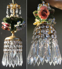 Porcelain Chandelier SWAG with 9' chain lamp Capodimonte Roses Flowers Brass