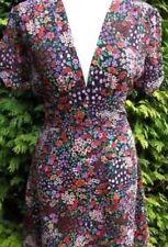 TOPSHOP Purple Floral Chiffon Vtg 20s 40s WW2 Summer Tea Party Dress 8 4 36 S