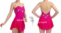 Ice Figure Skating Dress Custom Adult Competition Skating Dress Girls deep pink