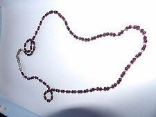 Unusual almandine garnet coloured bead and silver spacer necklace 541-11