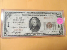 1929 $20 THE FIRST NATIONAL BANK OF BRADFORD, OHIO