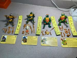 ALL 4 TMNT STORAGE SHELL TURTLES FIGURES ALL COMPLETE WITH CARDS EXCEPT MIKE NR