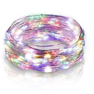 Serie luci a batterie Microled Multicolore per albero di Natale con filo in rame