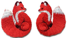 Pair Red Fox Iron On Embroidered Cute Animal Countryside Applique