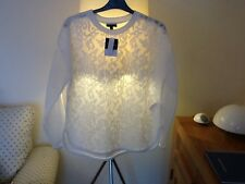 QUIRKY WHITE FLORAL MESH TOP BY TOP SHOP SIZE 16 NWT RRP £39 SOLD OUT!