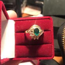 Vintage Style 10k Yellow Gold Genuine Diamonds Genuine Emerald Ring Sz 7.5
