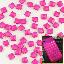 100 x Práctico 9mm Remaches Tachuelas Pirámide Color Rosa para Bolso Cuero mo9t