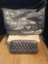 Coach Silver New York Script Lurex Metallic Bag 17472+Quilted Zip Around Wallet