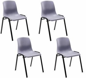 #R47816/1308 4x Stapelstuhl Nowra Kunststoff grau Kunststoffstuhl Besucherstuhl