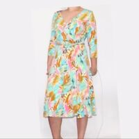 Suzi Chin Maggie Boutique Women's blue pink floral faux wrap dress 10