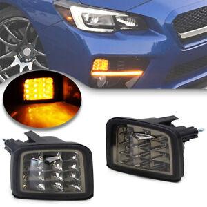 Smoked Amber LED Turn Signal Light for 15-18 Subaru WRX STi Front Corner Lamp