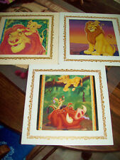 Vintage Disney 3 Lion King Carnival Glass Framed Prints 8 x 8
