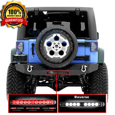Rock Crawler Black Rear Bumper+Brake LED Light Smoke fit 07-18 Jeep Wrangler JK