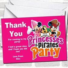 Girl's Pink Pirate And Princess Birthday Party Thank You Cards