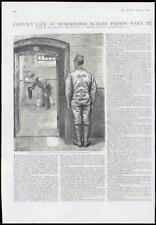 1889 antica stampa-Londra Assenzio SCRUBS PRIGIONE GUARDIA celle (145)