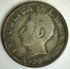 1928 Ecuador Silver 2 Sucres Coin Very Fine Circulated Sucre Head Left USA