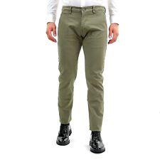 Pantalone Uomo Invernale Elegante Chino Slim Fit Verde Cotone Pantaloni Tasca Am