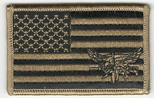 Coyote Tan Black US Flag SWAT Operator Morale Patch VELCRO® BRAND Hook Fastener