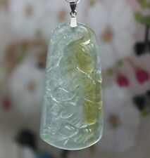 Certified (A) Natural Gorgeous Yellow Icy Jadeite Jade Lunar Tiger Pendant G18K