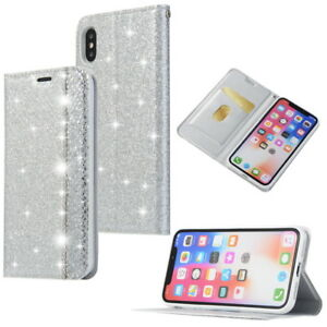 Lady Bling Glitter Leather Case Magnetic Flip Wallet Cover For iPhone Xs Max XR