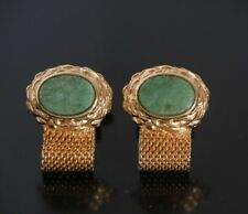 Vtg Jade Cufflinks Wrap Around Gold Green Jade Stone Hipster Meshwrap