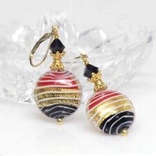 Red Gold Black Venetian Murano Lampwork Glass Earrings, Murano Glass Earrings