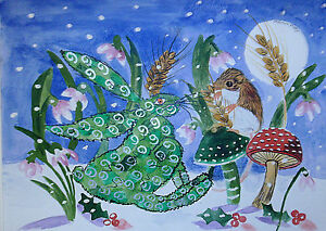"""Greeting Card, Quirky Hare & a  mouse on a mushroom  5"""" by 7"""""""