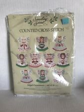 counted cross stitch kits Kit Angel Ornaments Set Of 10 New Floss Cloth