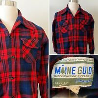 VTG Maine Guide Red Buffalo Plaid Check Wool Flannel Button Down Shirt Jacket L