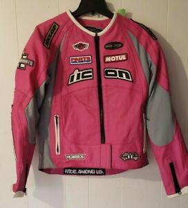 Women's Icon Merc Hero Pink Leather Motorcycle Jacket Racing Coat Riding - Large