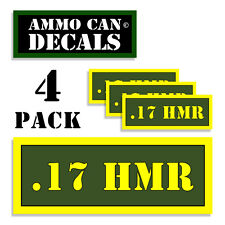 "17 HMR Ammo Can 4x Labels for Ammunition Case 3"" x 1.15"" sticker decal 4 pack AG"