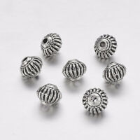 50pcs Tibetan Style Alloy Bicone Beads Lead Nickel Free Antique Silver 8x6.5mm