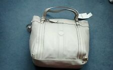 Ri2k Bassett Neutral Tote Weekend Overnight Large Leather Handbag New With Tags