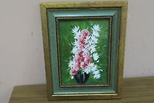 Original Vintage Oil on Board Panel Painting Flowers - Signed E. Scandale Framed