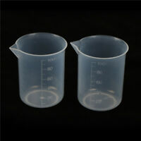 2x 100mL Clear Plastic Graduated Measuring Cup Jug Beaker Lab Tool Hot gS