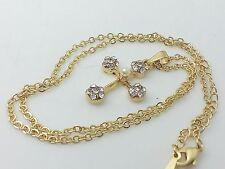 Collana Ciondolo Oro Croce Stilizzata Zirconi Perla Donna I Gioielli Di Vicky