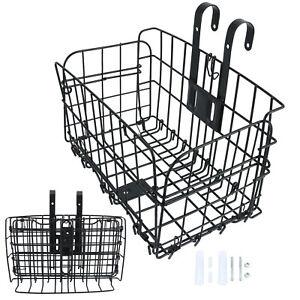 Folding Rear Bike Basket, Wire Mesh Fold-Up Detchable Front Basket, 1 Pack