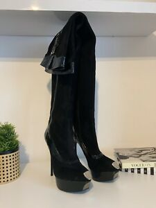 Gianmarco Lorenzi Over The Knee Boots, Black Suede And Patent, Eur 42