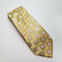 BCBG Attitude Mens Silk Neck Tie 60x3.5 Yellow w/ Squares