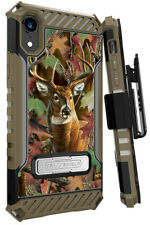 Whitetail Deer Outdoor Camo Case Cover + Belt Clip Holster for iPhone XR (10R)