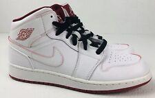 Nike Air Jordan Retro 1 Mid White Gym Red Sneakers 554725-103 Nike Size 7Y