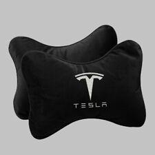 2Pcs Black Tesla Car Seat Neck Headrest Pillow Rest Cushion Velvet Embroidery