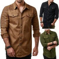 Stylish Men's Long Sleeve Slim Fit Dress Shirts Lapel Denim Shirt Casual Tops