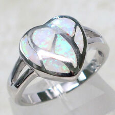 LOVELY WHITE FIRE OPAL 925 STERLING SILVER RING SIZE 5-10