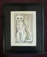 Original Ink Painting drawing Framed signed White Cat Feline Pea J Restall RCA