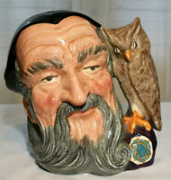 "Royal Doulton Merlin with Owl Large 7"" Toby Character Mug Jug D6529 Vintage"