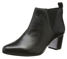 Van Dal Tangier Womens UK 5 EE Black Leather Zip Up Mid Block Heel Ankle Boots