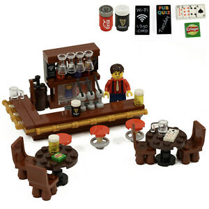 Pub - Drinking Bar with Barman, drinks, wine and beer glasses | All parts LEGO